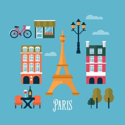 Adesivo Ícones elegantes planas para Paris, França. Viagens e turismo infogra