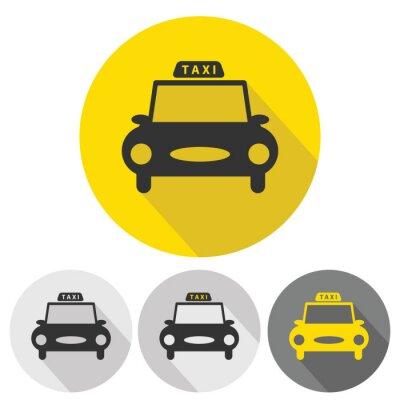 Adesivo ícones lisos carro táxi definido