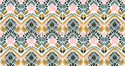 Adesivo Ikat geometric folklore ornament. Tribal ethnic vector texture. Seamless striped  pattern in Aztec style. Figure tribal  embroidery. Indian, Scandinavian, Gypsy, Mexican, folk pattern.