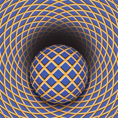 Adesivo Ilusão de ótica de a bola está rolando em um buraco. Resumo de fundo.
