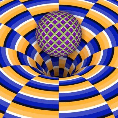 Adesivo Ilusão óptica da bola está caindo em um buraco. Fundo abstrato.