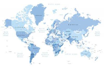 Adesivo Ilustração colorida de um mapa do mundo que mostra nomes de país, nomes do estado (EUA & Austrália), capitais, lagos principais e oceanos. Imprimir a não menos que 36