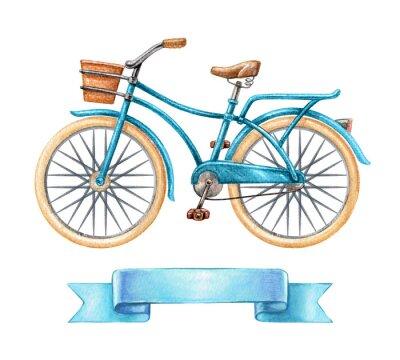 Adesivo Ilustração da aguarela, bicicleta azul, bicicleta retro, etiqueta de fita em branco, banner, etiqueta, clip art de transporte, isolado no fundo branco