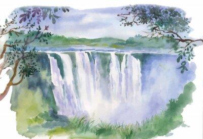 Adesivo Ilustração da aguarela da bela cachoeira