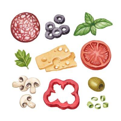 Adesivo Ilustração da aguarela de ingredientes alimentares