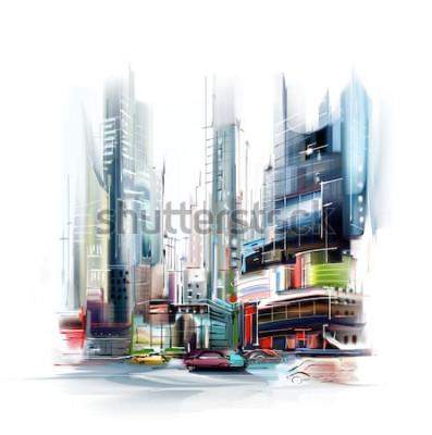 Adesivo Ilustração da rua da cidade europeia