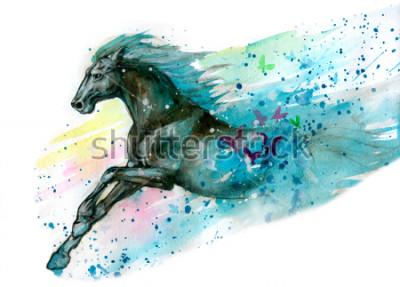 Adesivo Ilustração de aquarela de cavalo. Desenhado à mão
