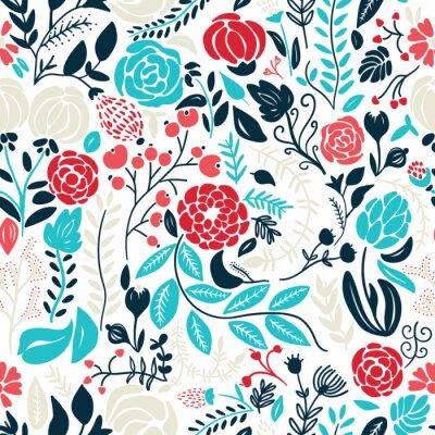 Adesivo Ilustração de belas flores desenhadas mão