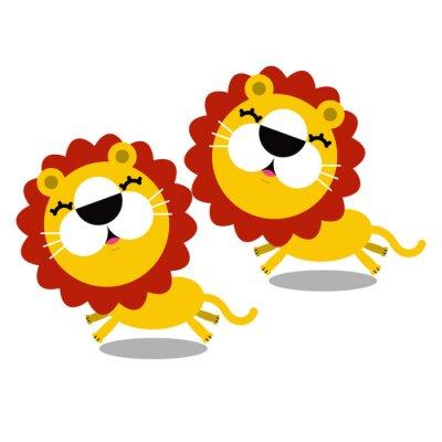 Adesivo ilustração de desenhos animados bonitos leões