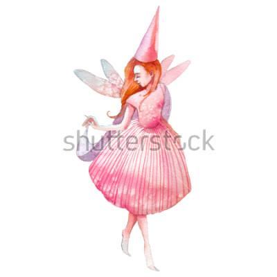 Adesivo Ilustração de fada em aquarela. Personagem de conto de fadas pintados à mão, isolada no fundo branco. Menina dos desenhos animados animados com asas