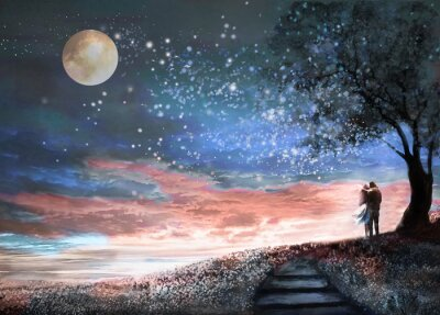 Adesivo Ilustração de fantasia com céu noturno e MilkyWay, estrelas da lua. Mulher e homem sob uma árvore olhando para a paisagem espacial. Prado floral e escadas. Pintura.
