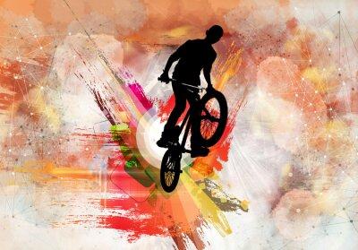Adesivo Ilustração, de, jumper bicicleta