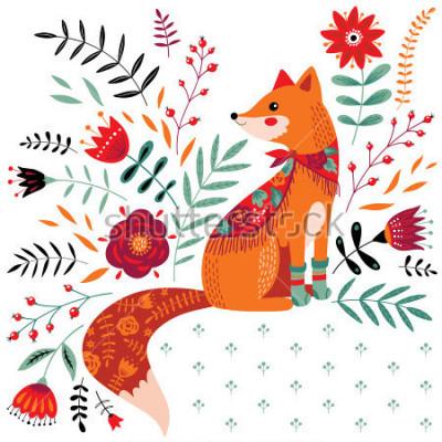Adesivo ilustração de raposa desenhada mão