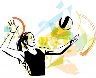 Adesivo Ilustração de voleibol jogador jogar