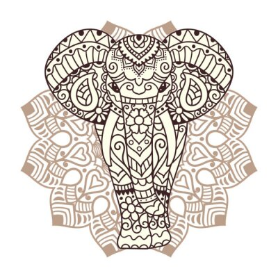 Adesivo Ilustração decorativa do elefante