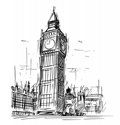Adesivo Ilustração do desenho de esboço dos desenhos animados torre de pulso de disparo do palácio de Westminster, Big Ben Elizabeth em Londres, Inglaterra, Reino Unido.