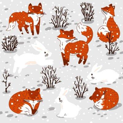 Adesivo Ilustração do inverno com raposas e o coelho bonitos.