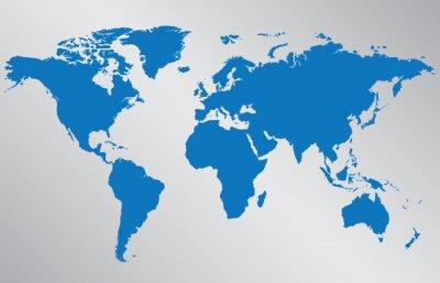 Adesivo Ilustração do mapa de mundo no fundo cinzento