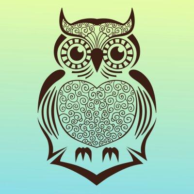 Adesivo Ilustração do owl.vector.