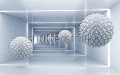 Adesivo Ilustração do teste padrão da bola do crystall 3D no papel de parede de prata decorativo do fundo 3D. Arte Moderna Gráfica