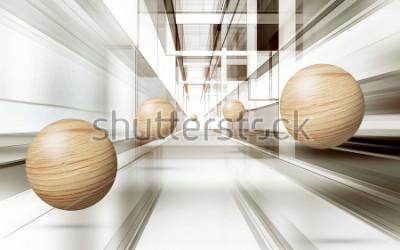 Adesivo Ilustração do teste padrão da esfera do marrom 3D no papel de parede decorativo do fundo 3D. Arte Moderna Gráfica