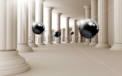 Adesivo Ilustração do teste padrão preto da bola 3D no papel de parede decorativo do fundo 3D. Arte Moderna Gráfica