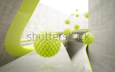 Adesivo Ilustração do teste padrão verde da bola do crystall 3D no papel de parede decorativo do fundo 3D. Arte Moderna Gráfica
