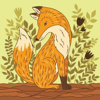 Adesivo Ilustração do vetor com a raposa