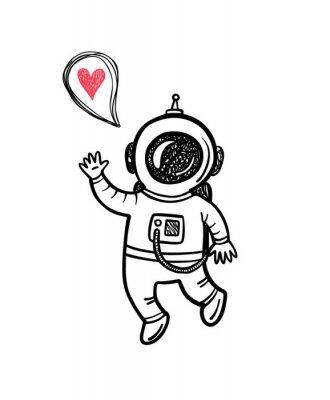 Adesivo Ilustração do vetor com doodle astronauta