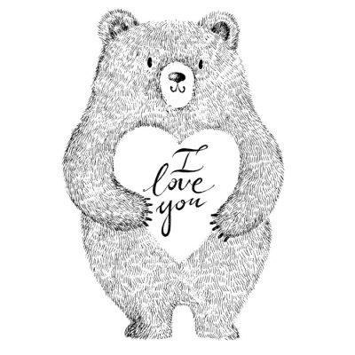 Adesivo Ilustração do vetor com o urso bonito adorável