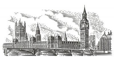 Adesivo Ilustração do vetor da arquitectura da cidade de Londres, gravando o estilo. Palácio de Westminster, Westminster Bridge, torre de Elizabeth (Big Ben). Isolado. (Fundo do céu em camada separada).
