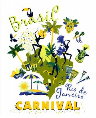 Adesivo Ilustração do vetor do carnaval brasileiro.