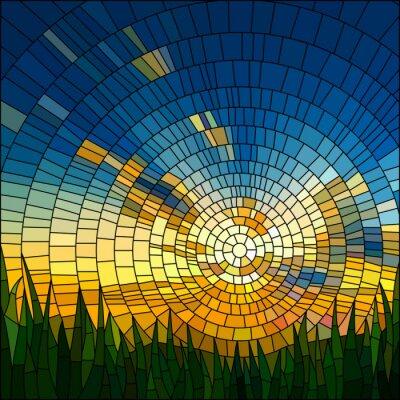 Adesivo Ilustração do vetor do por do sol na grama.
