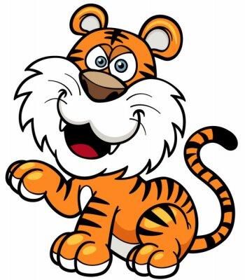 Adesivo Ilustração do vetor do tigre dos desenhos animados