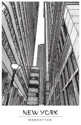 Adesivo Ilustração do vetor em estilo de gravura. Desenho preto isolado no fundo branco. Visualização em perspectiva.