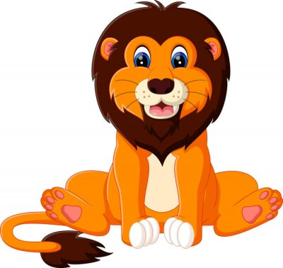 Adesivo Ilustração dos desenhos animados bonitos do leão do bebê