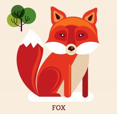 Adesivo Ilustração dos desenhos animados com fox bonito
