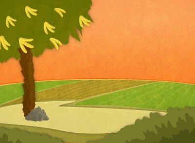 Adesivo Ilustração dos desenhos animados Fundo à moda raster.
