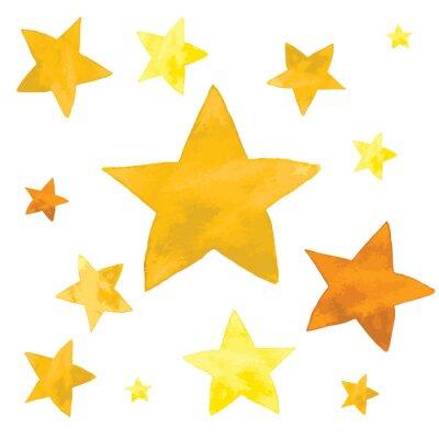 Adesivo Ilustração em aquarela de conjunto de estrelas amarelas