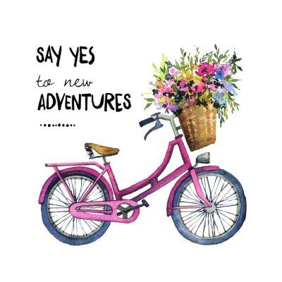 Adesivo Ilustração em aquarela de uma bicicleta com flores