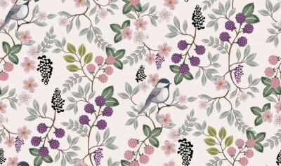 Adesivo Ilustração em vetor de um padrão floral sem costura com pássaros bonitos na primavera para casamento, aniversário, aniversário e festa. Design para banner, cartaz, cartão, convite e scrapbook