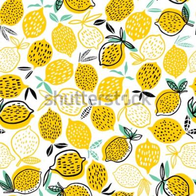 Adesivo Ilustração em vetor limão sem costura padrão. Projeto de verão