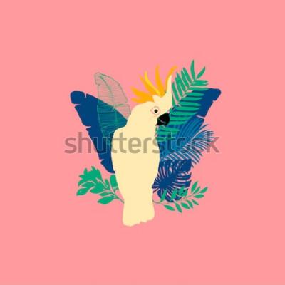 Adesivo Ilustração em vetor - papagaio cacatua, pássaros exóticos, flores tropicais, folhas de palmeira, ave do paraíso