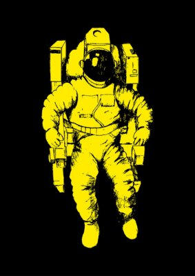 Adesivo Ilustração Esboço de um astronauta