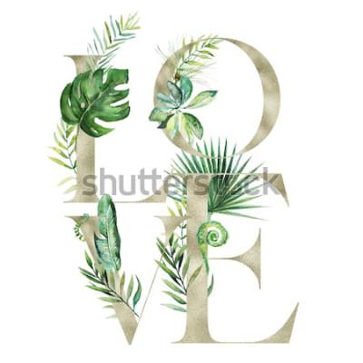 Adesivo Ilustração floral da aquarela exótica tropical - bandeira do arranjo do AMOR com letras da textura do ouro, para o papel de carta do casamento, cumprimentos, papéis de parede, forma, fundo. Palm, sama