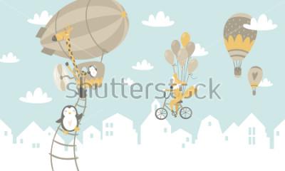 Adesivo Ilustração gráfica de crianças. Usando para imprimir na parede, travesseiros, decoração infantil interior, usar roupas de bebê e camisas, cartões, vetores e outros