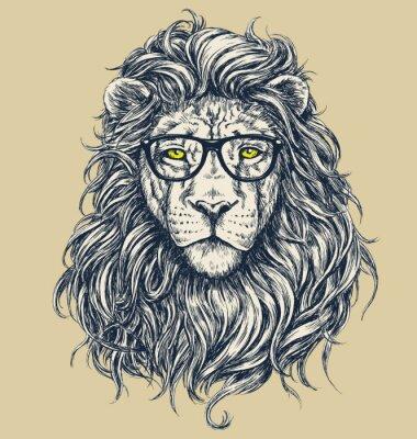 Adesivo Ilustração leão vector Hipster. Óculos separados.