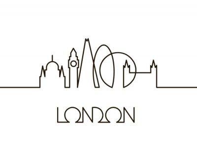 Adesivo ilustração linear abstrata da cidade de Londres em fundo branco