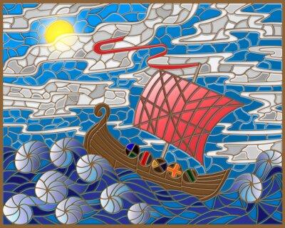 Adesivo Ilustração, manchado, vidro, estilo, antigüidade, navio, contra, mar, céu, sol