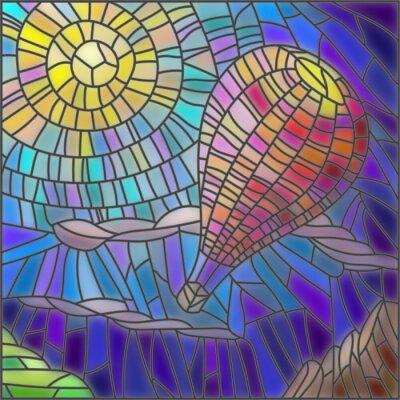 Adesivo Ilustração, manchado, vidro, estilo, ar, balão, céu, fundo, sol